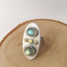 Spaceship Double Labradorite Ring Silver Gold by panicmama on Etsy