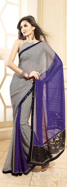Cream / Black Contrasting Purple Printed Saree With Ambi Border