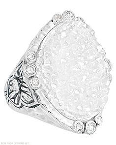 This #sparkler is an eye-catcher. #Druzy, #Cubic #Zirconia, #Sterling #Silver. #Silpada #jewelry #SilpadaStyle