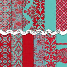 Red and Turquoise DAMASK BURLAP LACE Digital by BaerDesignStudio, $5.00
