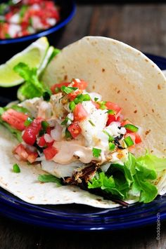 Fish Tacos Recipe from addapinch.com