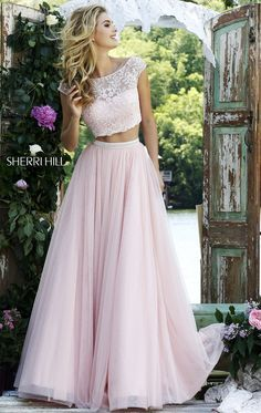 Gorgeously feminine and romantic, two-piece prom dress. for other two-piece prom dresses. The Sherri Hill line is selling out fast. Grad Dresses, Dance Dresses, Ball Dresses, Homecoming Dresses, Ball Gowns, Bridesmaid Dresses, Wedding Dresses, Dresses 2016, Prom Dresses Two Piece