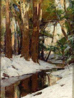☼ Painterly Landscape Escape ☼ landscape painting by Allan D. Cochran   Winter Stream