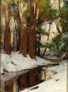 ☼ Painterly Landscape Escape ☼ landscape painting by Allan D. Cochran | Winter Stream