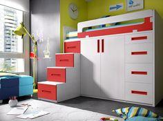 Bildergebnis für cama alta com armario Small Room Bedroom, Kids Bedroom, Bed With Wardrobe, Cool Beds For Kids, High Beds, Childrens Bedroom Furniture, Home Furnishings, Large Drawers, Room Set