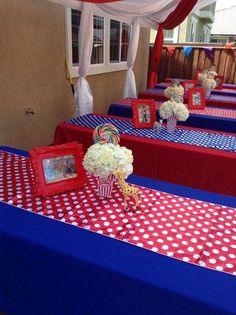 Circus Birthday Party Ideas Photo 8 of 23 Catch My Party Carnival Baby Showers, Circus Carnival Party, Circus Theme Party, Carnival Birthday Parties, Carnival Themes, First Birthday Parties, 5th Birthday, Birthday Ideas, Carnival Party Centerpieces