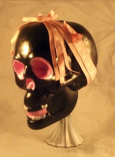 Pink and Black Skull Statue, Skull Statue, Skull Home Decor, Skull Home Decorations, Halloween Decor, Halloween Decorations, Free Shipping