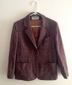 MOVING SALE 80's Brown Plaid Wool Blazer w/ by TheShoppingFund