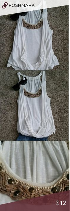 Hobo Tank Beautiful ivory boho tank Has cute wooden beads at neckline Racer back style in back Cute with jeans or shorts BCX Tops Tank Tops