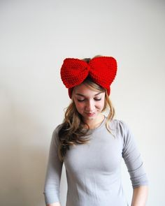 need this. ++ Big ol' Bow Ear Warmers in Cherry Red ++ YesJess