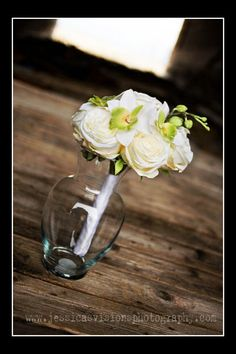 white rose and orchid bouquet DIY brides