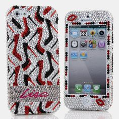 Bling Cases, Personalized Name Custom Made crystals Red Black Heels design case for iphone 5, iphone 5s, iphone 6, Samsung Galaxy S4, S5, Note 2, Note 3, LG, HTC, Sony – LuxAddiction.com
