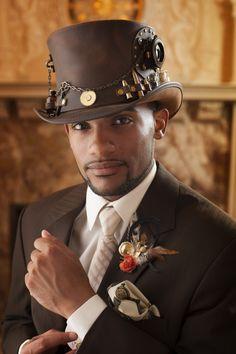 Steampunk Wedding - Premier Bride Magazine Zach Thomas Photography  Hat from the Panama Hat Company