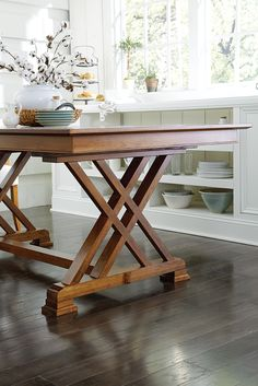 Amish Heyerly Trestle Dining Table The Heyerly Trestle Table features a sculpted base and your choice of a solid top or self storing extensions. This solid wood trestle table is right at h Dining Table Design, Modern Dining Table, Dining Room Table, Dining Rooms, Solid Wood Dining Table, Farmhouse Table Base, Hardwood Table, Small Dining, Table Desk
