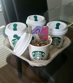 "Simple Starbucks gift card idea. All you need is the card of your choice, ""short"" Starbucks cup+lid, and brown paper straw (for coffee filler around card). A nice alternative to an envelope/sleeve."