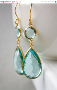 Gold Aqua Blue Quartz Teardrop Earrings  Teal Blue