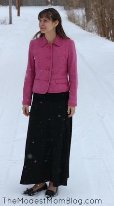 Pink wool jacket with long black skirt. Modest Monday and A Link Up! | themodestmomblog.com