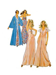 70s Vintage Negligees Nightgowns Robes by VintageNeedleFinds, $12.00