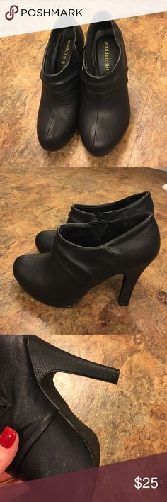 WOW!! Madden Girl booties Cute black Booties. Perfect with a rolled jean and sweater. Madden Girl Shoes Ankle Boots & Booties