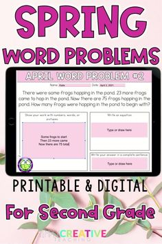 Check you this set of 24 digital and printable SPRING word problems for second grade! Use these in Google Classroom, Seesaw, or print out books for your students! The word problem types included are joining, separating, and comparing numbers within 100 with unknowns in all positions. Perfect for distance learning or in-person instruction with the flexibility to print-out or assign digitally. Ideal for quick assessments! Make sure to get your set of APRIL 2nd grade word problems today!