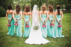 "Unique shot of the hair and flowers... a ""different"" view of the bridal party. Love the Bridesmade dress color"