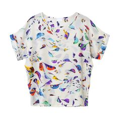 Magdalena In Bird Print Chiffon Shirt $18 ($18) ❤ liked on Polyvore featuring tops, udobuy, bird print top, magdalena, chiffon shirt, chiffon top and bird print shirt