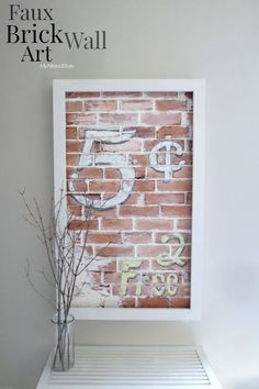 DIY:  How to Create Faux Brick Wall Art - this sign was made from plywood cut and painted to look like bricks, caulk and Plaster of Paris.  Tutorial shows how to get this awesome look! Via My Altered State