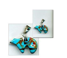 Southwest Turquoise Zuni Bear PENDANT Gemstone Inlay Red Jasper Sterling Silver