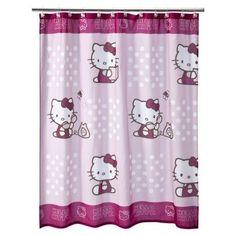 Cute Pink Polka Dot Hello Kitty Shower Curtain