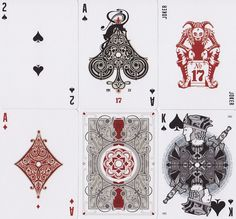 Printed by United States Playing Card Company. Pokers size Printed on Bicycle paper 12 illustrated courts 4 decorated giant aces custom pips 2 jester for jokers 2 gaff cards custom designed tuck-case