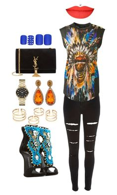 """Head Chief in Charge"" by kaystylesit on Polyvore featuring River Island, Balmain, Giuseppe Zanotti, Marc by Marc Jacobs, Yves Saint Laurent and Static Nails"