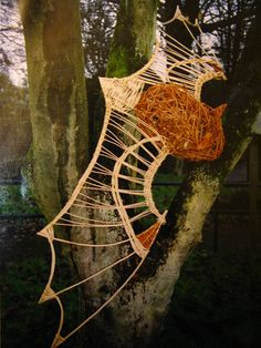 Bat sculpture for woodland trail by Cherry Chung Corn Dolly, Living Willow, Hanging Bat, Art In The Park, Goth Home, Willow Weaving, Bird Sculpture, Plant Art, Dark Skies