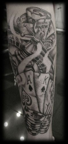 Custom Photo Realism Portraiture Black and Grey Wash Black and White Full Calf Maori Gamble Casino Money Roses Tattoo Tattoo Design_tattoo gallery 12