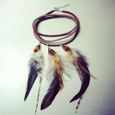 feather & leather arm cuff