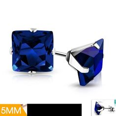 pair Stainless Steel Gold Color Plated Prong-Set Square Stud Earrings with Sky Blue// Aquamarine CZ