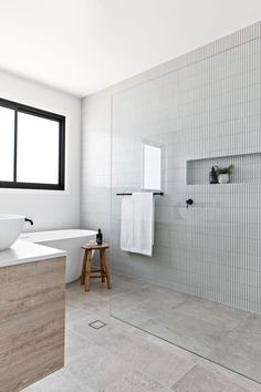 Beach House Bathroom, Modern Bathroom Tile, Coastal Bathrooms, Bathroom Inspo, Bathroom Renos, Laundry In Bathroom, Bathroom Styling, Bathroom Interior Design, Bathroom Inspiration