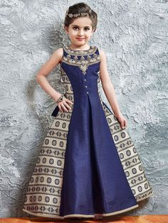Stone Work + Digital Printed Kids Gown - More Details Contact No. Wedding Dresses For Kids, Gowns For Girls, Dresses Kids Girl, Girl Outfits, Kids Dress Wear, Kids Gown, Baby Dress, Kids Frocks Design, Baby Frocks Designs