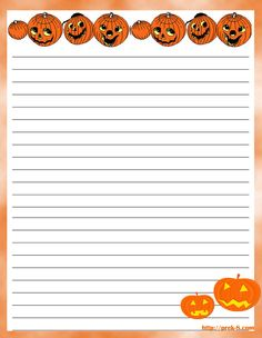 scary Halloween pumpkin decorations letterhead  writing paper, free printable Halloween stationery
