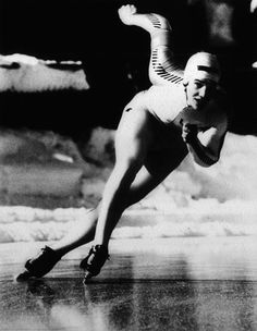 Photographer/Creator  Steve Fenn  Collection  1980  Publisher  ABC Sports  Caption/Description  Eric Heiden rounds the turn, his body in perfect form, on his way to his first of five gold medals at the Lake Placid Winter Olympics.