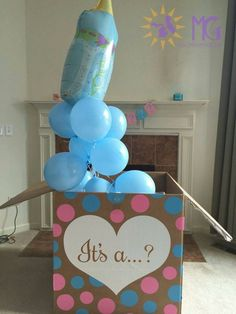 I like how simple the box is and the baby bottle ballon. gender reveal box with balloons Simple Gender Reveal, Gender Reveal Box, Gender Reveal Balloons, Gender Reveal Decorations, Baby Gender Reveal Party, Gender Party Ideas, Ideas Party, Gender Reveal Pinata, Gender Reveal With Sibling
