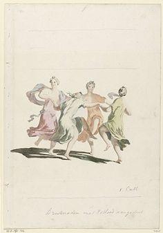 Vier dansende vrouwen, anonymous, 1688 - 1698