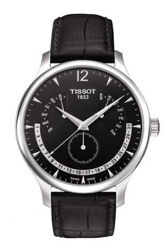 bb853cf6b49 Tissot Tradition Perpetual Calendar Men s Chrono Quartz Black Dial Watch  with Black Leather Strap Cool Watches