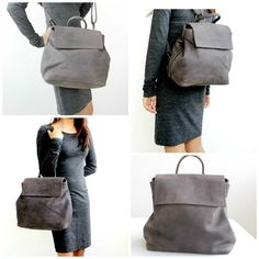 Grey convertible leather backpack distressed leather
