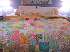 scrappy sunshine quilt by Sew Katie Did, via Flickr