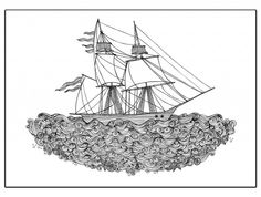 The crystal ship, amazing illustration by Hanna Karlzon! #nordicdesigncollective #hannakarlzon #news #new #poster #print #ship #wind #sail #sails #wave #iocean #sea #crystal #thesrystalship #blackandwhite #black #white #art #illustration