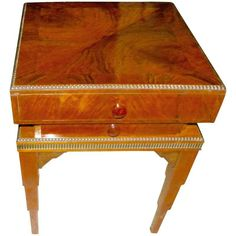 For Sale on - Art Deco storage table with top opening and also storage drawer. Fantastic walnut wood with stair stepped legs and nice edge details along the edges of Art Deco Furniture, Table Furniture, Cool Furniture, Art Deco Lighting, Vintage Interiors, Table Storage, Art Deco Design, Art Deco Jewelry, Walnut Wood