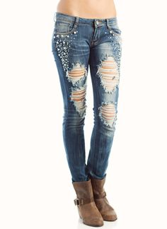 embellished destroyed jeans $40.90