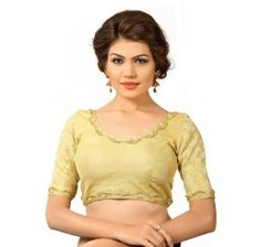 Delicate lace in this dupion silk ready made blouse.