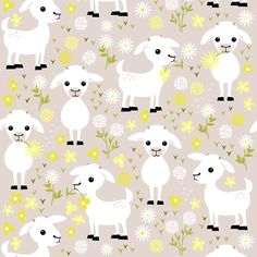 Baby goats on grey - small fabric by heleenvanbuul on Spoonflower - custom fabric