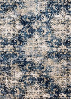 Loloi Torrance Navy Ivory Area Rug is part of Cream Navy Living Room - 8 inch Rug pad is recommended for this rug Rugs In Living Room, Living Room Decor, Transitional Area Rugs, Navy Rug, Machine Made Rugs, Diy Décoration, Throw Rugs, Decoration, Rugs On Carpet